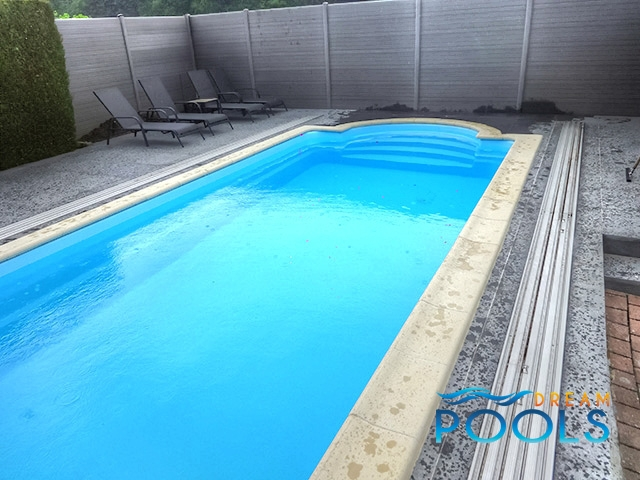 Dreampools our fiberglass pools projects for Fiberglass pool installation