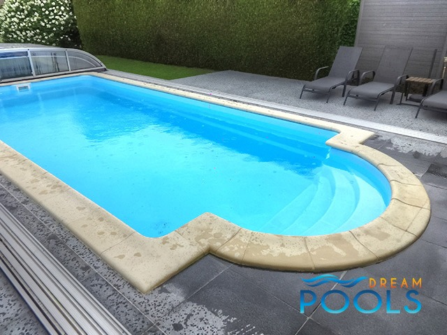 Dreampools the gallery of fiberglass pools for Inground pool enclosure prices