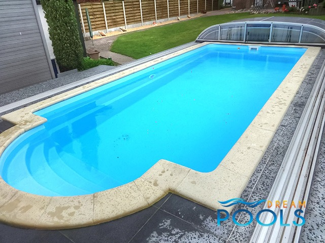 Dreampools the technology of fiberglass swimming pools for Swimming pool enclosures cost