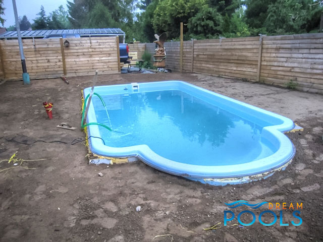 Dreampools fiberglass pool installation for Inground pool enclosure prices